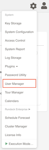 User Manager Button